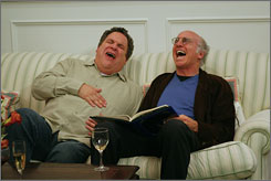 Full of Enthusiasm: Jeff Garlin, left, and Larry David in HBO's improv comedy, which returns Sunday. Odds of a Season 7? David says it's 50-50.