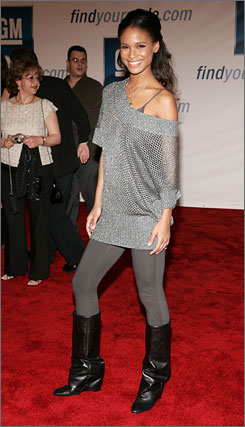 Actress Joy Bryant, shown here at a 2006 event, teamed up with designer Erin Fetherston for Glamour's Fashion Gives Back party.