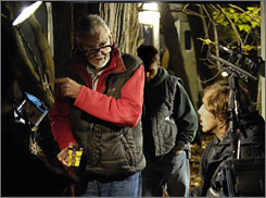 """Snapshots in time"": Director George A. Romero on the set of his Diary of the Dead, which uses news reports from Sept. 11 and Katrina and amateur Web videos."
