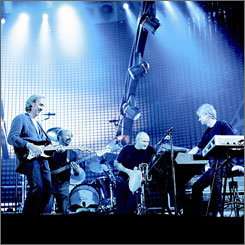 Farewell after nearly four decades:Mike Rutherford, left, Daryl Stuermer (one of the band's touring members), Phil Collins and Tony Banks will launch the North American leg of their tour Friday in Toronto.