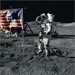 Otherworldly: Apollo 16 astronaut John Young salutes the American flag in a still photo from the documentary In the Shadow of the Moon.