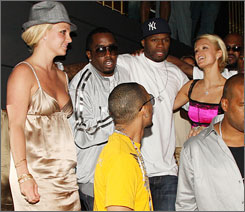 "Britney Spears, Sean ""Diddy"" Combs, 50 Cent and Paris Hilton hit the 50 Cent record release party at The Hard Rock Casino in Las Vegas Saturday."
