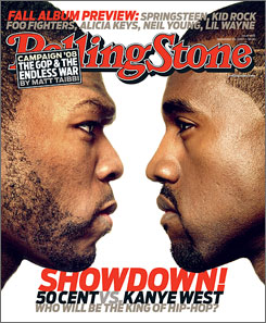 50 Cent, left, and Kanye West go head to head on Tuesday when they both drop their third albums.