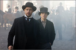 A blast from the American past: Brad Pitt, left, stars as notorious outlaw Jesse James. Casey Affleck plays (to the hilt) the coward Robert Ford.