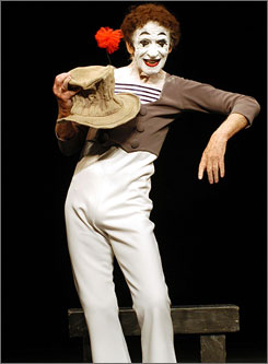Marcel Marceau performs at the Geffen Playhouse in July 2002 in Westwood, Calif. The famous mime died Saturday, his family said.
