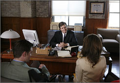 Tabloid fodder: Peter Krause, center, plays altruistic Nick George, who becomes the lawyer for the absurdly rich Darlings of New York. Daniel Cosgrove and Natalie Zea co-star.