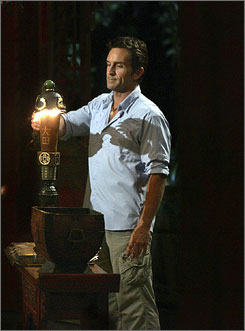 Snuffed: Survivor: China host Jeff Probst ousts a contestant.