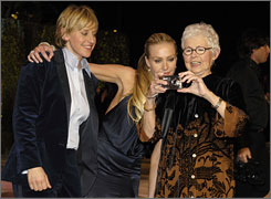 Family photo: Ellen DeGeneres, partner Portia de Rossi and Ellen's mother, Betty, who had a mastectomy in 1973.