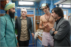 All aboard: Waris Ahluwalia, left, Owen Wilson, Adrien Brody and Jason Schwartzman take a train across India.