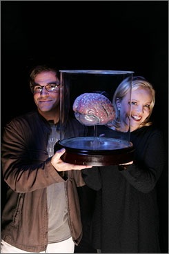 Brains of the operation: Star Roger Bart and director Susan Stroman have a little fun with The New Mel Brooks Musical Young Frankenstein at the Hilton Theatre.