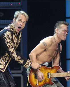 Van Halen's opening night crowd may have looked like they were straight out of 1984, but the band's nucleus  David Lee Roth and Eddie Van Halen  both sported clean-cut 'dos.