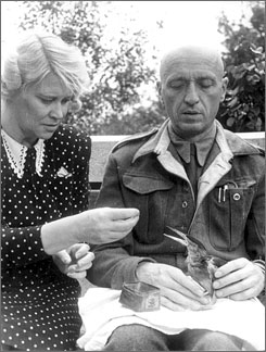 Helping hands: Antonina and Jan Zabinski feed an injured bird at the Warsaw Zoo, where they harbored Jews from the Germans.