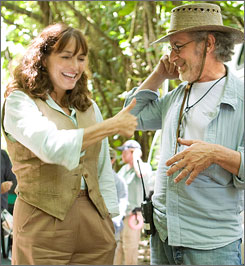 Indiana Jones director Steven Spielberg and original cast member Karen Allen giggle on the set. But giving away plot details was not a laughing matter, as one extra learned the hard way.