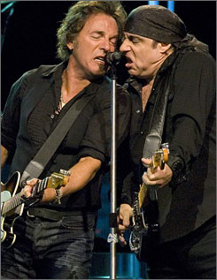 Springsteen's interplay with sideman Stevie Van Zandt was played down this time, but still part of the show.