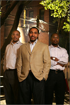 Healers: George Jenkins, left, Sampson Davis and Rameck Hunt write about bonding with their absent fathers in The Bond: Three Young Men Learn to Forgive and Reconnect With Their Fathers.