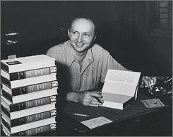 As seen in Harold Robbins: The author signs copies of his second novel, The Dream Merchants (1949).