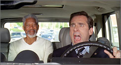Evan Almighty: At the bidding of the Almighty (Morgan Freeman, left), a reluctant Evan (Steve Carell) finds himself in the sandals of Noah.