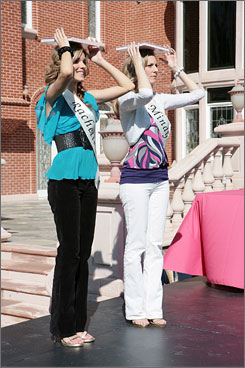 Book learning: A daughter-and-mother pair stand straight and tall in CW's reality show Crowned.