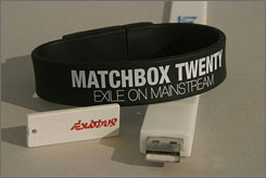 Portable and wearable: USB drives hold music from Bob Marley and, in a wristband, Willie Nelson and Matchbox Twenty.