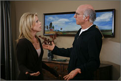 Hey, at least he'll have TiVo: Curb Your Enthusiasm's Cheryl Hines and Larry David, who has endured his own marital rupture.
