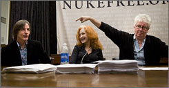 Jackson Browne, left, Bonnie Raitt and Graham Nash joined members of Congress and environmental groups on Tuesday to speak about an anti-nuclear campaign they support.