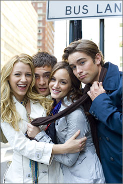 Beyond ratings: Gossip Girl, with Blake Lively, left, Ed Westwick,  Leighton Meester and Chace Crawford, got a full-season order on  CW because it's a hot blog topic and popular with teenage girls.