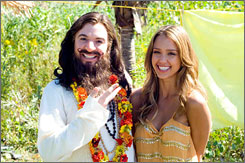 Spiritual adviser: Mike Myers, with Jessica Alba, applies his brand of humor to Eastern religion in The Love Guru.