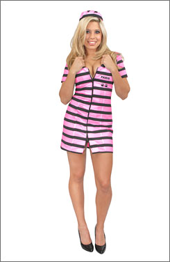 Pretty in pink stripes: Be Paris in Prison in a fashionable jumpsuit from Halloween-Mart.