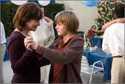 Dancing through tears: In the film, Marcia Gay Harden is dying of cancer; Miles Heizer's mom died.