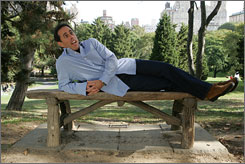 The sweet life: Jerry Seinfeld kicks back in New York's Central Park, where he likes to take his three children.