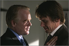 "Caught up in greed: Philip Seymour Hoffman, left,  has a proposal for Ethan Hawke: the ""perfect"" crime."