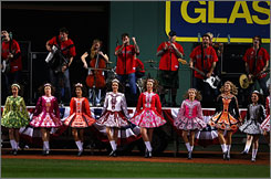 The Dropkick Murphys perform before the start of Game Seven of the American League Championship Series between the Cleveland Indians and the Boston Red Sox at Fenway Park in Boston on Oct. 21.