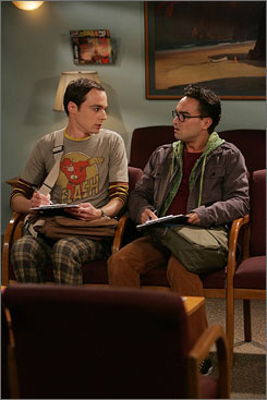 Life is more than just carbon-based: Sheldon (Jim Parsons), left, and Leonard (Johnny Galecki) are geeky roommates with a pretty neighbor.