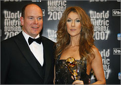 Celine Dion, with Prince Albert II of Monaco, picked up the Legend Award at the 2007 World Music Awards in Monaco on Sunday.