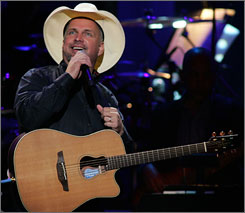 Garth Brooks, seen here during a September show in New York, began a nine-show stint in Kansas City on Monday.