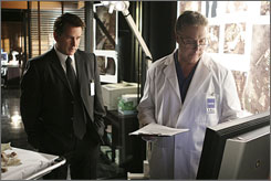On a manhunt: Trace's Jack (Anthony LaPaglia, left) and CSI's Grissom (William Petersen, right) team up.