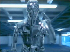 T2: Android transforms from metallic to human form.