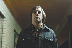 Baddest of the bad: Javier Bardem portrays the psychopath Anton Chigurh in the fast-paced thriller directed by Ethan and Joel Coen.
