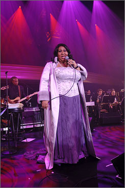 """National treasure"": Aretha  Franklin has collaborated over the  years with musical talents as diverse  as Frank Sinatra, Keith Richards,  Elton John and Fantasia."