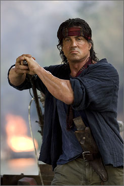 Icon returns: Sylvester Stallone on location in Thailand.  Rambo opens Jan. 25.