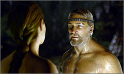 Faceoff: Grendel's mother (Angelina Jolie) and hero Beowulf (Ray Winstone).