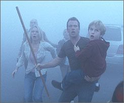 When the mist rolls in: Laurie Holden, Thomas Jane, Nathan Gamble and other townsfolk are left to deal with monsters and fanaticism.