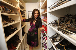 Fierce footwear: Stacy London of TLC's What Not to Wear and Fashionably Late moved a fire door to create a shoe closet.