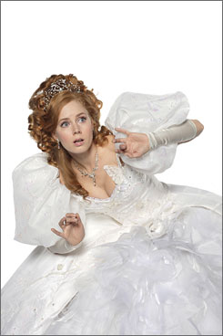 A real girl: Giselle (Amy Adams) lands in real-life Manhattan from her cartoon kingdom in Enchanted.