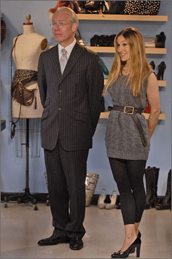 Host Tim Gunn and guest judge Sarah Jessica Parker on Project Runway.
