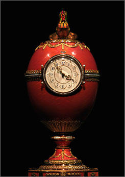 The Faberge egg had been in the Rothschild banking family for more than a century. The piece was sold to a private Russian bidder for $18.5 million. The translucent pink egg contains a clock and animated cockerel and had never been seen in public before the sale was announced.