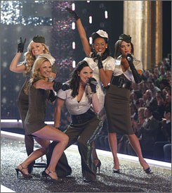 "Five fast friends: Emma Bunton, left, Geri Halliwell, Melanie Chisholm, Melanie Brown and Victoria Beckham reunite for the Victoria's Secret Fashion Show (CBS, Tuesday, 10 p.m. ET/PT). Their tour starts Sunday. ""We're getting a second chance to really appreciate everything,"" Beckham says."