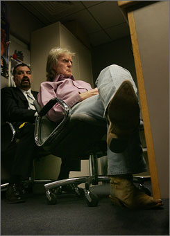 The fallout: Don Imus waits for the Rev. Al Sharpton's radio show, where he talked in April about racist comments he had made on his own show.