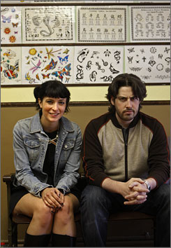 Outsider art: Juno screenwriter Diablo Cody and director Jason Reitman hang out at the Shamrock tattoo parlor, where Cody considers getting some art.