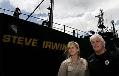 "Terri Irwin checks out the new ship named after her late ""Crocodile Hunter"" husband.  Captain Paul Watson and the U.S.-based Sea Shepherd Conservation Society will use the ship to  disrupt Japan's annual whale hunt."